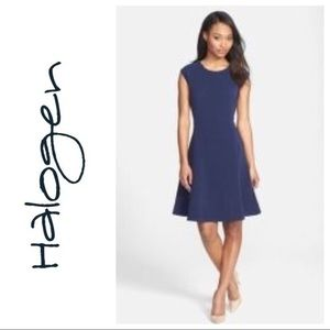 HALOGEN Ottoman Knit Fit & Flare dress (S US4-6)